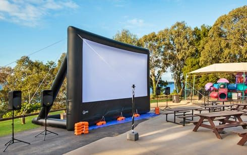 Entertain your guests with karaoke, music videos or films in the outdoor area