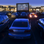 drive-in cinema with inflatable projection screen